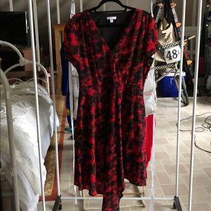 Red Halston midi dress, NEVER WORN.